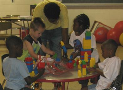 Preschoolers Building with Blocks