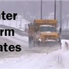 Winter storm update graphic showing Public Works snowplow