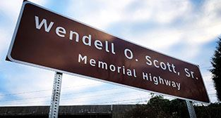 Wendell O. Scott Sr. Memorial Highway sign