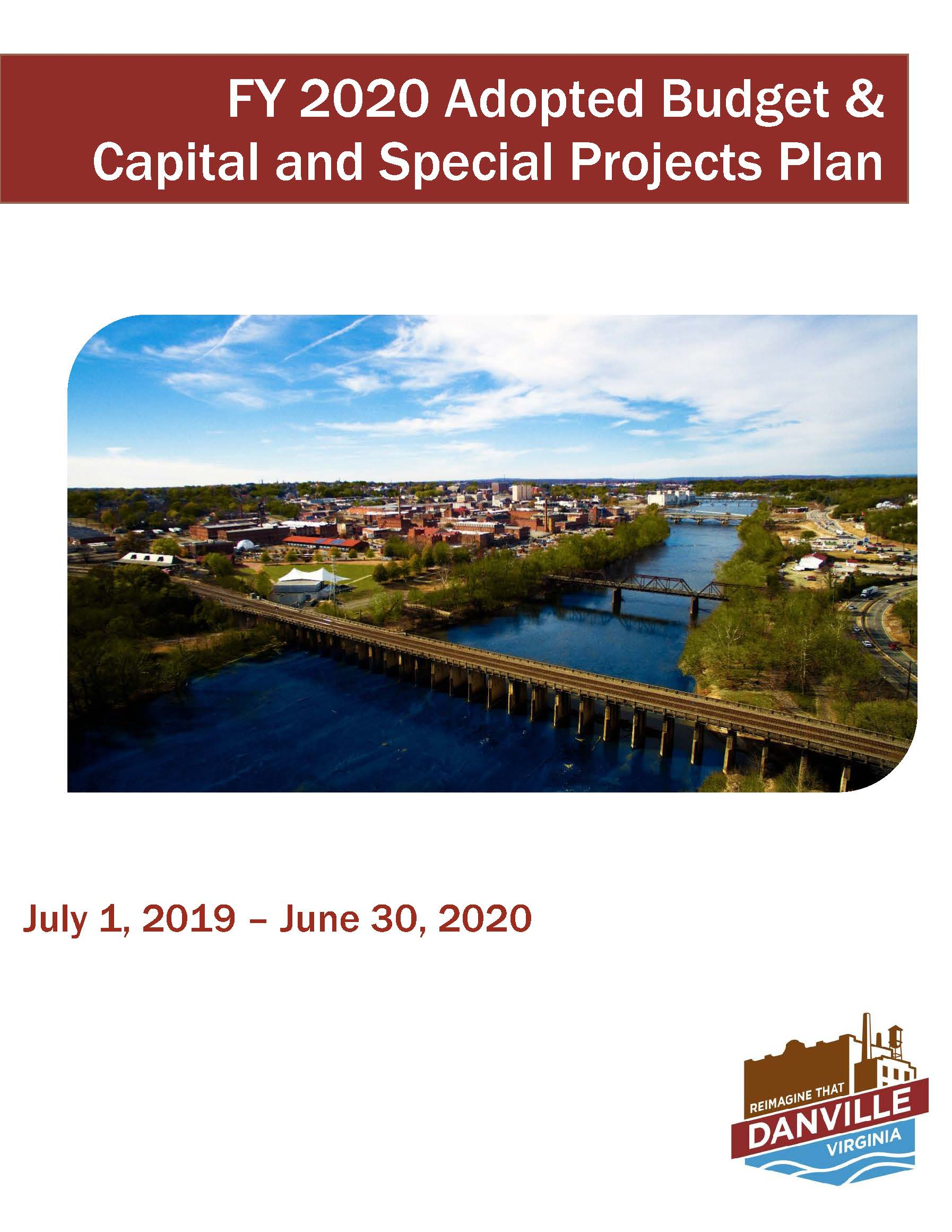 FY2020 Adopted Budget and CSP Cover featuring aerial view of Danville
