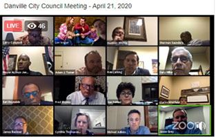 Screenshot from City Council's virtual meeting