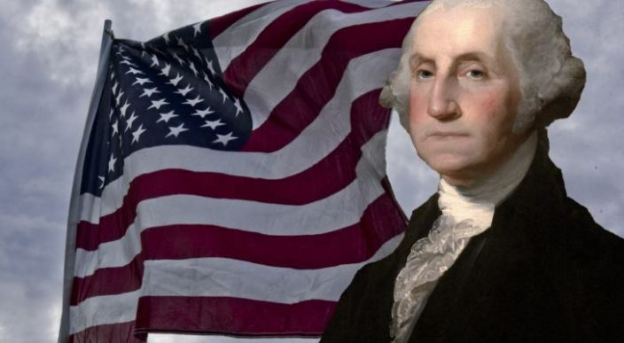 Presidents Day image of flag and George Washington